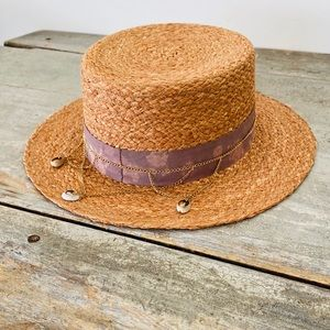 ♥️ Olive & Pique ♥️ Brown Shell Boater Hat